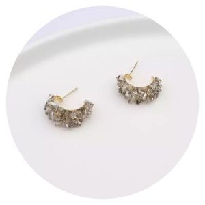 Jewelry - • Stunning Grey Crystal Hoop Earrings •